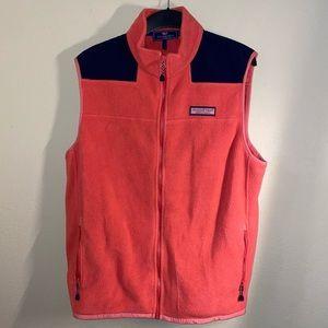 Pink Vineyard vines fleece vest Pockets Size Large